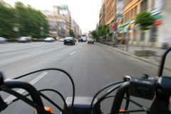 Driving. A motorcycle on road Stock Images