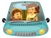 Driving. Illustration of mother and daughter driving Stock Image