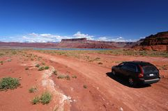 Driving. Car driving on a dirt road in Canyonlands National Park Royalty Free Stock Photography