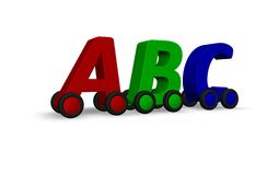 Driving abc. The letters  abc on wheels - 3d illustration Royalty Free Stock Photos