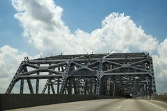 Driving across the Huey P. Long Bridge over the Missssippi River in Louisiana, USA Royalty Free Stock Image