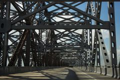 Driving across the Huey P. Long Bridge over the Missssippi River in Louisiana, USA Stock Image