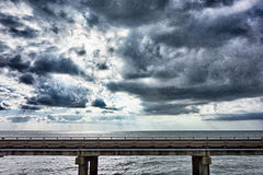 Driving across lake pontchartrain causeway near new orleans Royalty Free Stock Photo