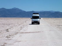 Driving across the Salinas Grandes Stock Photography