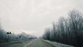 Driving along beautiful landscape of frozen trees covered in snow. Driving in car along beautiful landscape of frozen trees covered in snow, cold winter cloudy stock video