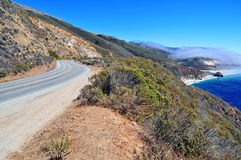 Driving along Big Sur Coastline California Royalty Free Stock Photos