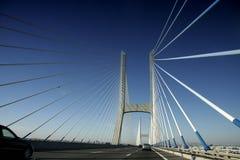 Driving along car the Vasco da Gama Bridge Royalty Free Stock Image