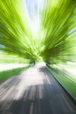 Driving along country road. Motion blur. Royalty Free Stock Image