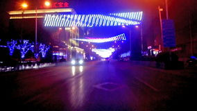 Driving along famous East Chang'an Avenue at night of Beijing, China. Driving along famous East Changan Avenue at night in Beijing, China stock footage