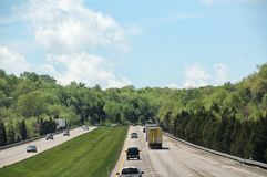 Driving Along The Interstate Highway royalty free stock image