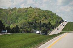 Driving Along The Interstate Highway Royalty Free Stock Images