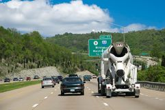 Driving Along The Interstate Highway Stock Image