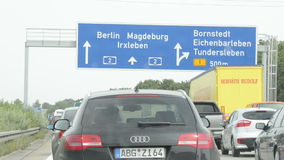 Driving along A2 motorway in Germany lower Saxony close to city Mandeburg stock video footage