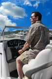 Driving Along The Ohio River. Driving a boat out of a marina along the Ohio river in summer Stock Photo