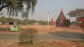 Driving through the area of many pagodas in Bagan stock footage