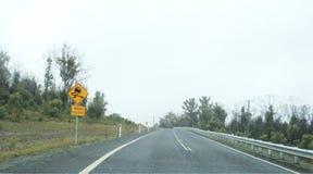 Driving on Arthur Road, Tasmania. Way from Boomer Island and Boomer bay on Arthur Highway on way to Port Arthur, Hobart, Australia Royalty Free Stock Image