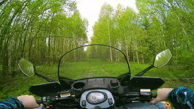 Driving ATV in forest POV stock footage