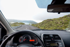 Driving on Azores. Driving in a rented car on Sao Miguel island, Azores, Portugal stock photo