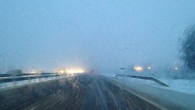 Driving in bad weather conditions stock video