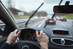 Driving in bad weather Stock Photography