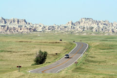 Driving Through Badlands National Park Stock Photos