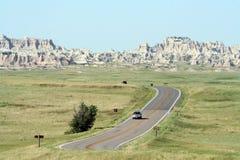 Driving Through Badlands National Park stock photos