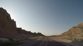 Driving Into Badlands Rock Formations