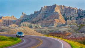 Driving through the Badlands on the Scenic Loop. SUNDAY, AUGUST 5, 2018, WALL, SD: Badlands Loop Scenic Byway, also known as South Dakota 240, is a 31 mile Stock Image