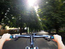 Driving bicycle Royalty Free Stock Image
