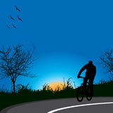 Driving bicycle in nature. Silhouette of biker in night driving bicycle Royalty Free Stock Photography