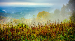 Driving through  blue ridge mountains national park Stock Photos