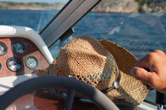 Driving the boat Royalty Free Stock Images