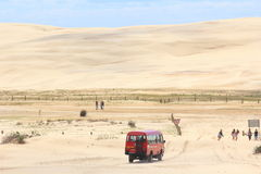 Driving By Bus Into Sand Dune Landscape Stock Photography