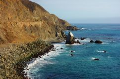 Driving in California on the Pacific Coast Highway Route 1 Stock Photos