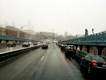 Driving through Camden NJ with the roads icy royalty free stock photos