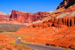 Driving through Capital Reef National Park Royalty Free Stock Photo