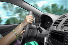 Driving a car. (interior of a car Royalty Free Stock Images
