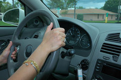 Driving a car 2. Driving a car safely (interior of a car Stock Image