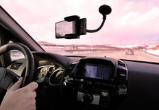 Driving a car. With the navigation system royalty free stock photo