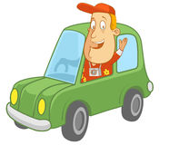 Driving a Car. Abe The Tourist - Smiling and waving while driving a car Royalty Free Stock Image