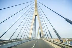 Driving car along the Guadiana International Bridge Royalty Free Stock Photos
