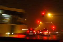 Driving a car in bad weather conditions, dangerous blocking crossroad Stock Photography