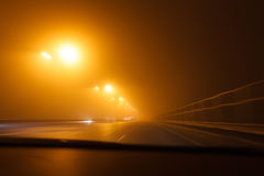 Driving a car in bad weather conditions Stock Photography