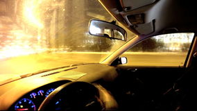 Driving a car in the city. Time lapse. stock footage