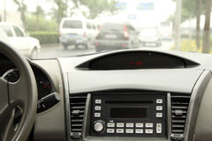 Driving in the car console. Driving in the car interior temperature and the center console Stock Photo