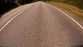 Driving a Car on a Country Road - POV - Point of view front - windshield. stock footage