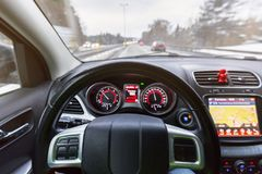 Driving a car. On snowy road Royalty Free Stock Photos