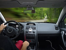Driving a car fast Royalty Free Stock Photography
