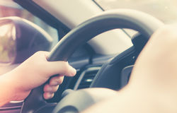 Driving a car. In good habit of people in city life style Royalty Free Stock Photography