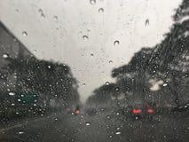 Driving in Car Heavy Rain Traffic Stock Image